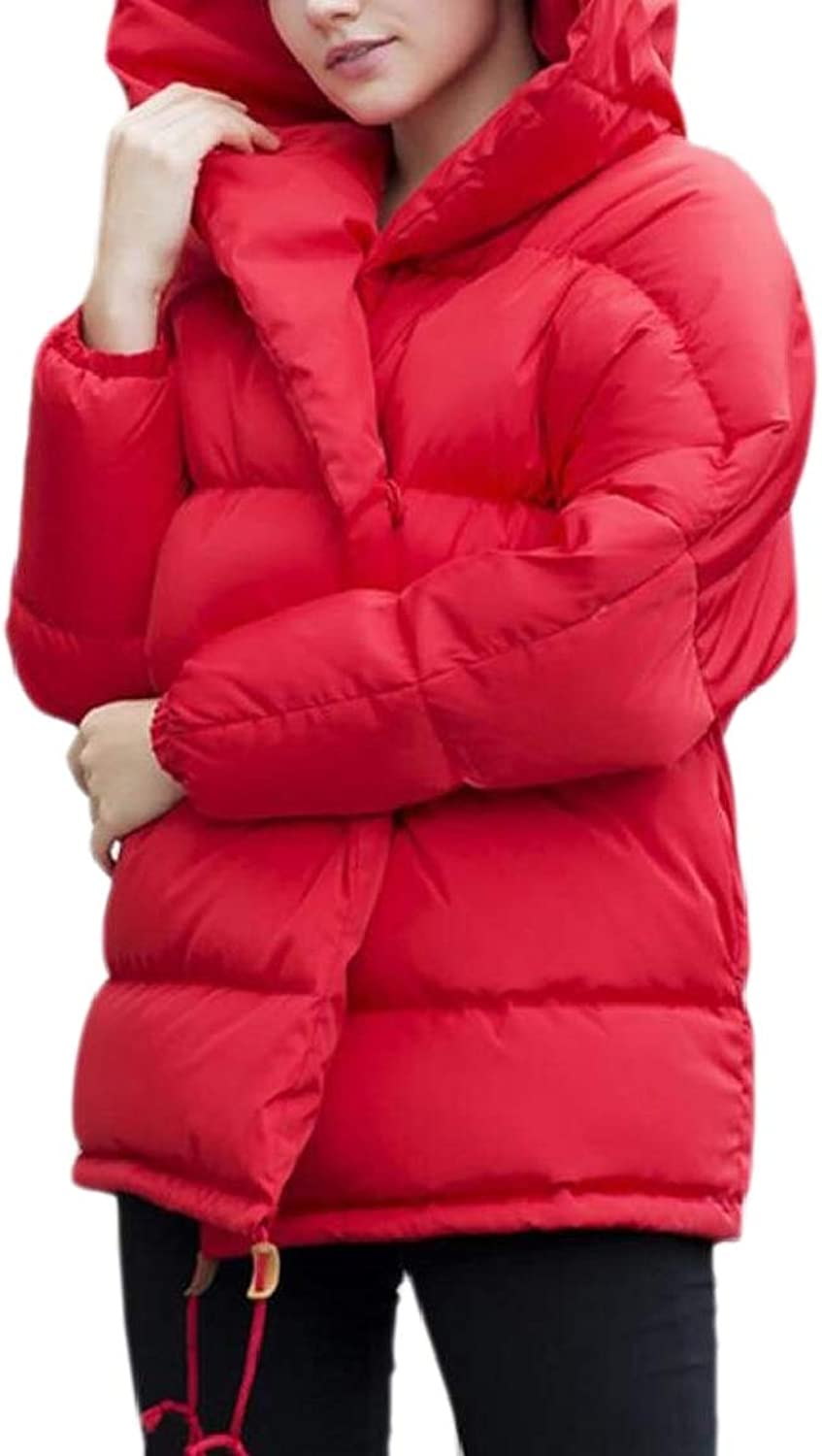 QDCACA Women Winter Puffer Down Loose Thick Hooded Outdoors Jacket Coats