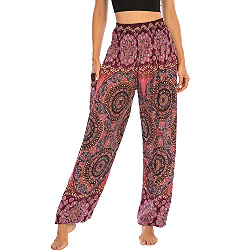 Nuofengkudu Mujer Thai Pantalones Hippies Cintura Alta con Bolsillo Boho Estampados Baggy Comodo Harem Pantalón Indios Yoga Pants Verano Playa(X-Flor Vino Rojo)