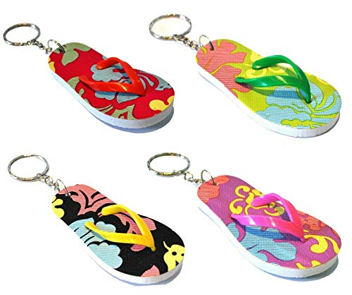 12 Assorted Novelty flip Flop Keychains, Ideal Luggage Tags. Stocking fillers, Party Bag fillers.