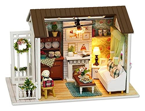 DIY. Weihnachtsminiatur-Puppenhaus-Kit Realistische Mini-3D-Holzhaus-Zimmer-Handwerk Mit Möbeln LED Lichter Kindertag Geburtstagsgeschenk Weihnachtsdekoration (Style : Type 7)