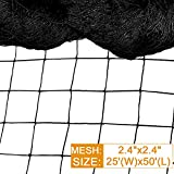 DQS Bird Net - 25' x 50' Garden Netting with 2.4' Square Mesh Protect Fruit Tree, Plant and Vegetables from Poultry, Deer and Pests, Heavy Duty Bird Netting for Garden, Farm, Orchard