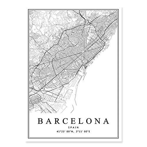 WJWAINI Mundomapa Decora Mural Barcelona City Map Posters Impresiones En Lienzo Cuadros...