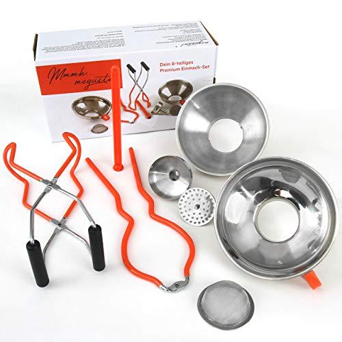 megusta!® Premium Einmach-Set 8-teilig: 2 Trichter Edelstahl, 1 Reduzierstück, 1 feines Sieb, 1 grobes Sieb, Einmachglas Heber, Zange zum Öffnen von Gläsern, Magnet für Schraubdeckel. …