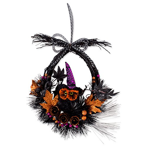 """17.5"""" Haunted OwlWreath Wall Décor to Celebrate Halloween"""
