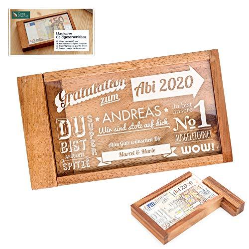 Casa Vivente Magische Geldgeschenkbox mit Gravur zum Abitur, Motiv Schriftcollage, Personalisiert mit Namen, Verpackung für Geldgeschenke