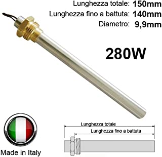 Bujía de encendido para estufa de pellets, rosca de 3/8 280W, 150mm, 140 mm; diámetro: 9,9mm, para Piazzetta, CS Thermos, Adler