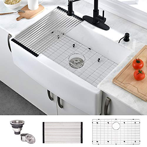 HOSINO 30 Inch Fireclay Apron Sink, Handcrafted White Kitchen Sink, Farmhouse Sink with Accessories Single Bowl Apron Front Sink Farm Sink Deep Sink Curved Front