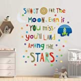 Inspirational Wall Quote Decals for Kids Bedroom Shoot for The Moon Motivational Wall Stickers Positive Saying Wall Decor for Playroom Classroom