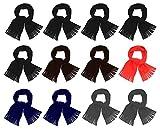 12 Pack Fleece Winter Scarves, Warm Winter Multi-color Bulk Wholesale, Unisex Men Women (Assorted)