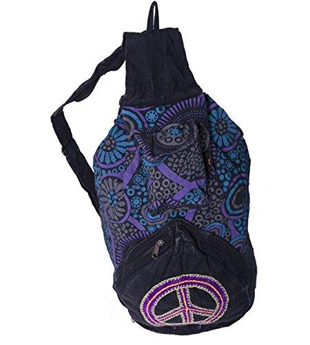 KUNST UND MAGIE Bunter Hippie Rucksack 'Peace', Farbe:Schwarz/Lila