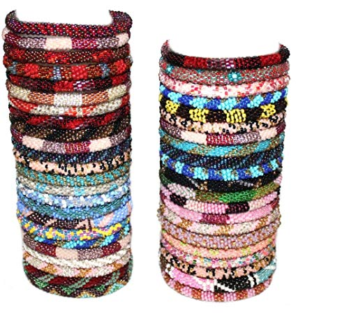 12 Random Mix Crochet Glass Seed Bead Bracelet Nepal Bracelet (ONE Dozen)