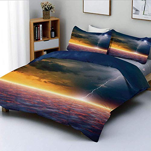 Duvet Cover Set,Apocalyptic Sky View End of the World Majestic Mystic Sky Solar and Flames Image Decorative 3 Piece Bedding Set with 2 Pillow Sham,Orange Blue,Best Gift For Kids