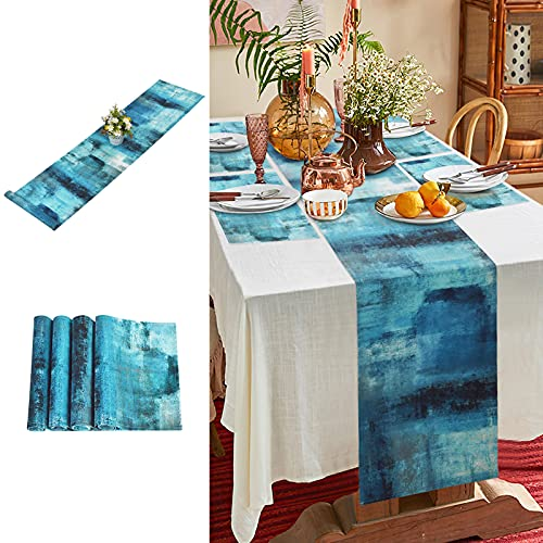 ASPMIZ Abstract Art Table Runner with 4 Placemats, Farmhouse Style Table Runners Set, Turquoise and Grey Modern Art Table Mats Set for Decoration, Holiday, Indoor and Outdoor Parties, Gift
