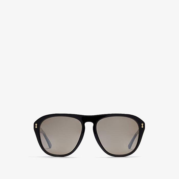 Gucci  GG0128S (Black/Silver) Fashion Sunglasses