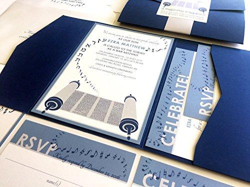 Torah Bar Mitzvah Invitation, Music Bat Mitzvah Invitation Set, Blue and Grey, Pocketfold, Bellyband and Sticker, RSVP, Party Card, Envelope Addressing