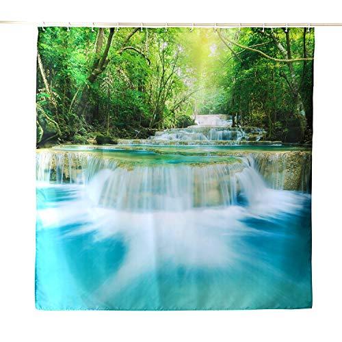 ENCOFT Rideau de Douche Anti Moisissure Imperméable Rideau pour Salle de Bain Tissu en 100% Polyester avec 12 Anneaux Crochets, Chute d'eau Vert 180x200cm