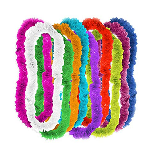 100 A granel Hawaiana Luau collar favores de la fiesta- colores surtidos collares con volantes - tropicales fiesta de playa favores, decoración floral de la ducha del bebé, Aloha Moana cumpleaños.