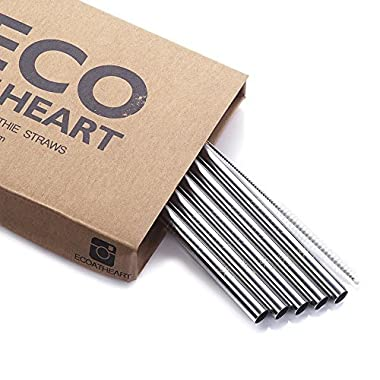 Eco at Heart Reusable Straws - Set of 5 EXTRA WIDE Stainless Steel Metal Drinking Straws 8.5in Length for SMOOTHIES & Thick Drinks. Straight Straw Cleaning Brush Included