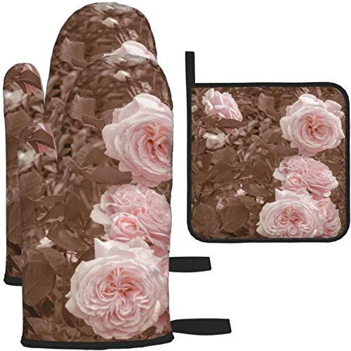 MODORSAN Vintage englische Rosen Ofenhandschuhe und Topflappen 1208 Stück Set Küchenofen Handschuh und Topflappen rutschfest zum Kochen Backen Grillen-als Farbe-Eins-Größe