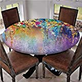 "Elastic Edged Polyester Fitted Table Cover,Abstract Herbs Weeds Blossoms Ivy Back with Florets Shrubs Design,Fits up 45""-56"" Diameter Tables,The Ultimate Protection for Your Table,Multi"