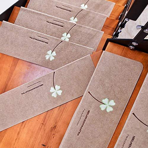 MEIDUN Set di 10 Tappetini per Scale, Tappetini Luminosi Antiscivolo Protezioni per Scale Autoadesive Antiscivolo Supporto in Gomma Moquette per Scale Interne in Legno khaki-55x22cm