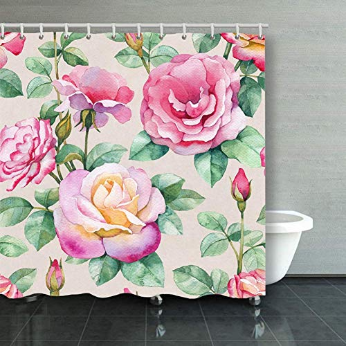 BGNHG Cortina de la Ducha Shower Curtain Watercolor Rose Flowers Seaml