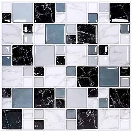 Joqixon 10 hojas para azulejos de pared de 10 x 10 pulgadas de mármol 3D autoadhesivo para azulejos de cocina