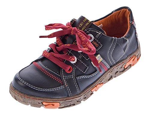 TMA Comfort Damen Leder Schuhe Schnürer 4181 Sneakers Schwarz Turnschuhe Halbschuhe Gr. 38