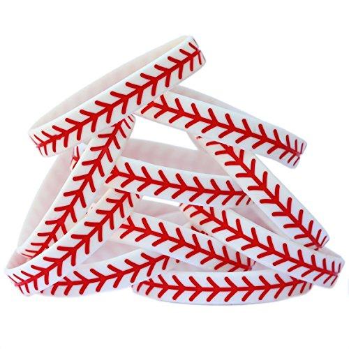 SayitBands 15 Child Size Baseball Design Wristband Silicone Bracelet