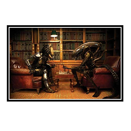 IUYTRF Aliens Vs Predator International Chess Póster de arte divertido Impresión de tela de seda Decoración de arte de pared para sala de estar-50X75 cm Sin marco 1 Uds