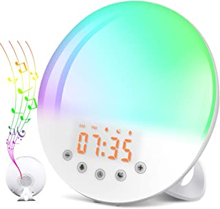 SOLMORE Wake Up Light Alarm Clock, Alarm Clock Light Sunrise Sunset Simulation 9 Alarm Sounds Snooze Function 30 Brightness Adjustable Alarm Light FM Radio Touch Control for Kids Adults Bedroom