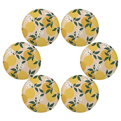 Juego de 6 manteles individuales redondos con diseño de hojas de limón, antideslizantes, resistentes al calor, lavables para mesa de comedor, cocina, decoración del hogar