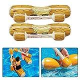 【𝐒𝐞𝐦𝐚𝐧𝐚 𝐒𝐚𝐧𝐭𝐚】 Juego de 2 piezas Juguetes inflables de hilera flotante, cama flotante Flotadores de tumbonas Bote para montar en bote Balsa de troncos aireados Juego de flotador de flotació