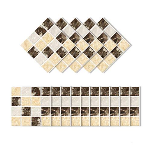 VOSAREA 15 Piezas calcomanías de Pared 3D Autoadhesivas Textura de Roca de Oro Negro patrón de Mosaico Pasta de Pared Adhesivo a Prueba de Agua Pegatinas de Pared para Sala de hogar 10 * 10 cm