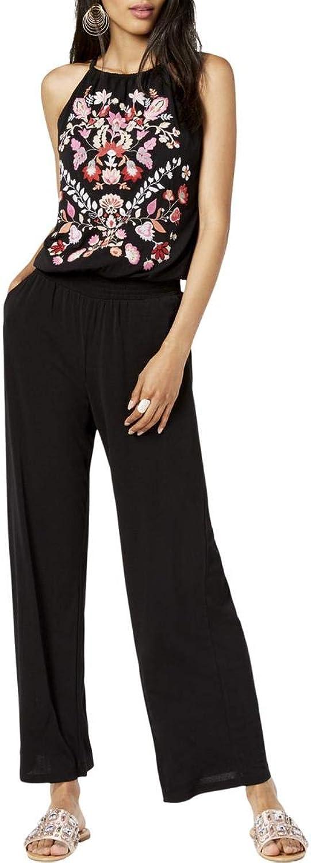 INC Womens Petites Embroidered Halter Jumpsuit Black PL