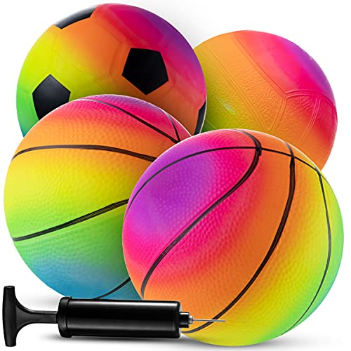 Rainbow Sports Balls - 6 Inch (Pack of 4) Inflatable Vinyl Balls for Kids and Toddlers with Added...