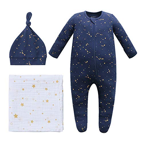 Owlivia Halloween Organic Take Me Home Outfit Set, Newborn Baby Boy Girl Footed Pajama Hat and Muslin Blanket Gift Set,3 Pcs(Starry Sky, 0-3 Months)