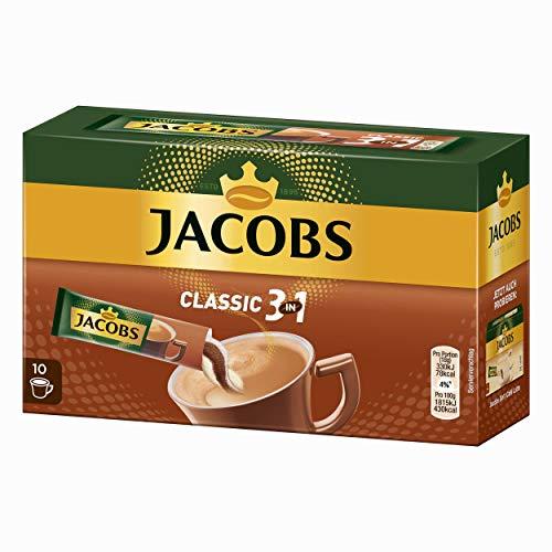 Jacobs 3 für 1 Löslicher Kaffee mit Kaffeeweiߟer und Zucker 10 praktische Becher-Portionen, 180 g