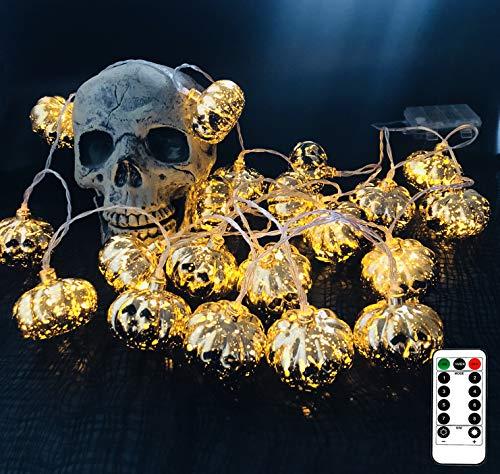 11.5 Feet Battery Operated Halloween String Light with 20 LED Skulls/Pumpkin, 8 Modes Dimmable Waterproof - Jack-O-Lantern Halloween Party Decoration Halloween Lights (Pumpkin)