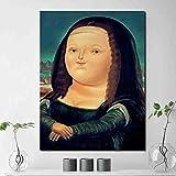YuanMinglu Lächelnde Göttin Porträt Leinwand Malerei Druck Tapete Schlafzimmer Dekoration Ölgemälde Moderne Kunst Wand Poster Salon Schöne Meerjungfrau Rahmenlose Malerei 72x90 cm