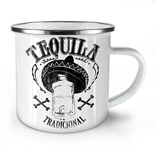 Wellcoda Tequila traditionell Emaille-Becher, Mexikaner - 10 Unzen-Tasse - Kräftiger, griffiger Griff, Zweiseitiger Druck, Ideal für Camping und Outdoor