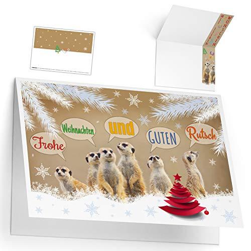 Weihnachtskarten Set (12 Stück) ERDMÄNNCHEN - lustige Premium Klappkarten - ideal privat & geschäftlich - Frohe Weihnachten Karten von BREITENWERK
