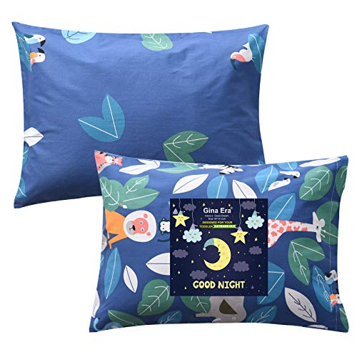 Gina Era Ergonomic Toddler Pillowcase,(2 Pack) 100% Cotton Pillowscase, Size:1419 inch,Fits Kids Pillows sizesd 13 x 18 or 12x 16 - Machine Washable (Style2)