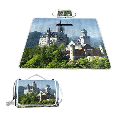 XINGAKA Picknickdecke,Deutschland Neuschwanstein Schloss Angenehme Naturlandschaft Grüner Wald Blauer Himmel,Outdoor Stranddecke wasserdichte sanddichte tolle Picknick Matte