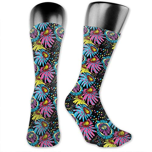 Socks Compression Medium Calf Crew Sock,Ornamental Composition Of Blossoming Flower Sixties Style Colorful Cartoon Design