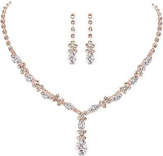 مجموعة مجوهرات الزفاف وإشبينة العروس من UDORA مجموعة مجوهرات زركونيا كريستال قلادة أقراط