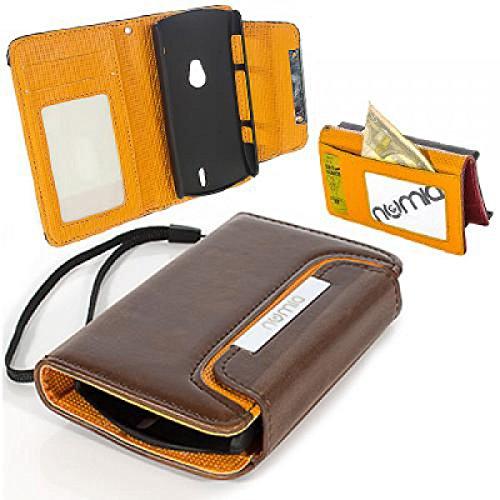numia Sony Ericsson Xperia Neo Hülle, Handyhülle Handy Schutzhülle [Book-Style Handytasche mit Standfunktion & Kartenfach] Pu Leder Tasche für Sony Ericsson Xperia Neo V Hülle Cover [Braun-Orange]