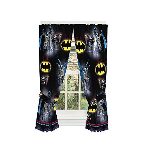 Franco Kids Room Window Curtain Panels Drapes Set, 82' x 63', Batman