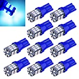 Aucan Super Bright 194 921 168 2825 W5W T10 Wedge 30-SMD 3014 Chipsets LED Replacement Bulbs for 12V Car Interior Dome Map Door Courtesy Trunk License Plate Lights Blue (pack of 10)