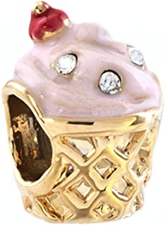 Ice Cream Charms Golden Cup April Births Sale Cheap Jewelry Beads Fit Pandora Bracelets